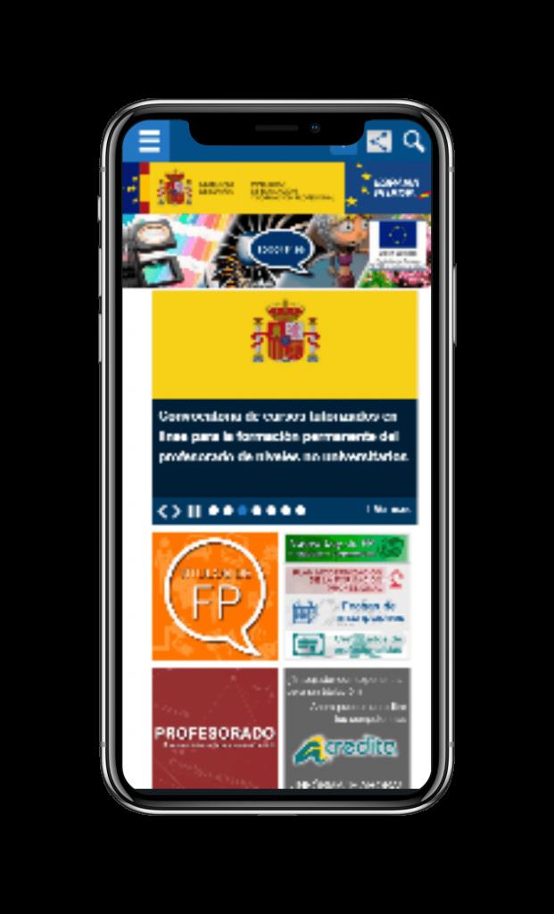 Movil con la web TodoFP - El portal de la Formación Profesional